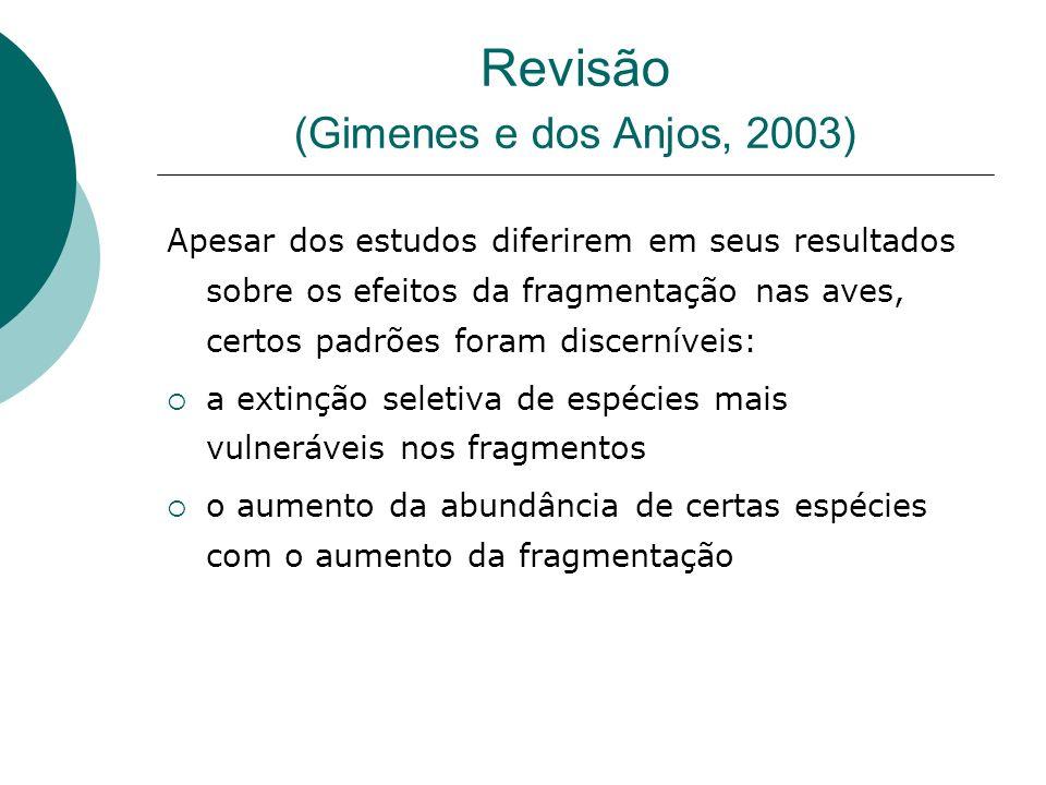 Revisão (Gimenes e dos Anjos, 2003) Apesar dos estudos diferirem em seus resultados sobre os efeitos da fragmentação nas aves, certos padrões foram di