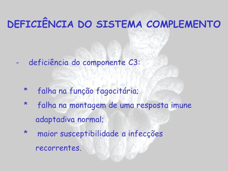 DEFICIÊNCIA DO SISTEMA COMPLEMENTO - deficiência do componente C3: * falha na função fagocitária; * falha na montagem de uma resposta imune adaptadiva
