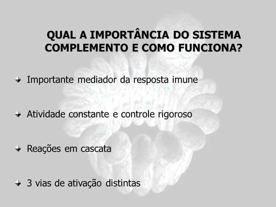 QUAL A IMPORTÂNCIA DO SISTEMA COMPLEMENTO E COMO FUNCIONA? Importante mediador da resposta imune Atividade constante e controle rigoroso Reações em ca