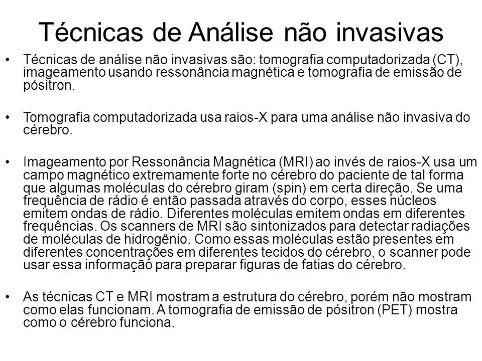 Técnicas de Análise não invasivas Técnicas de análise não invasivas são: tomografia computadorizada (CT), imageamento usando ressonância magnética e t
