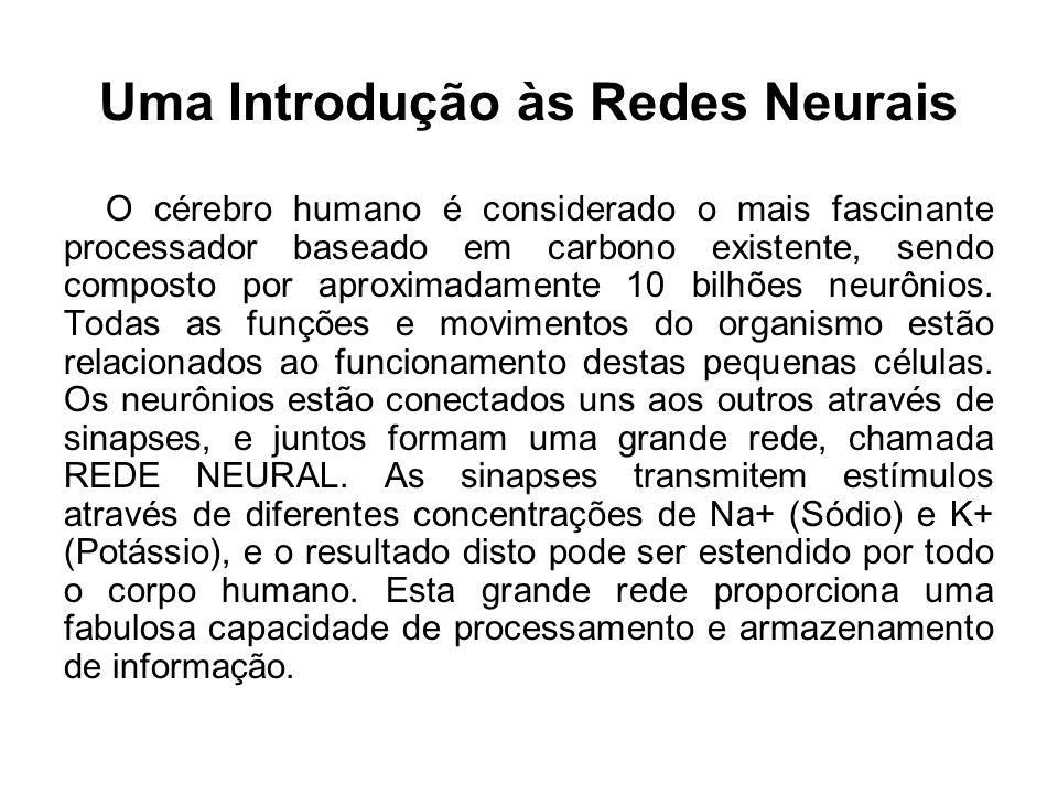 Uma Introdução às Redes Neurais O cérebro humano é considerado o mais fascinante processador baseado em carbono existente, sendo composto por aproxima