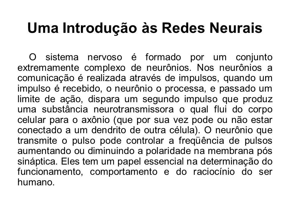 Uma Introdução às Redes Neurais O sistema nervoso é formado por um conjunto extremamente complexo de neurônios. Nos neurônios a comunicação é realizad