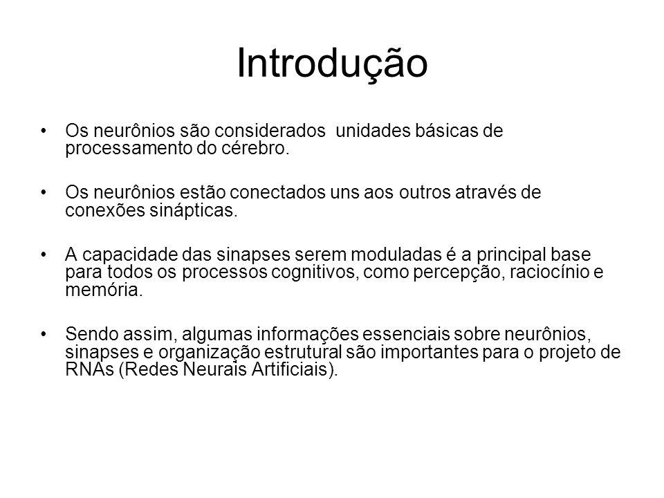 Introdução Os neurônios são considerados unidades básicas de processamento do cérebro. Os neurônios estão conectados uns aos outros através de conexõe