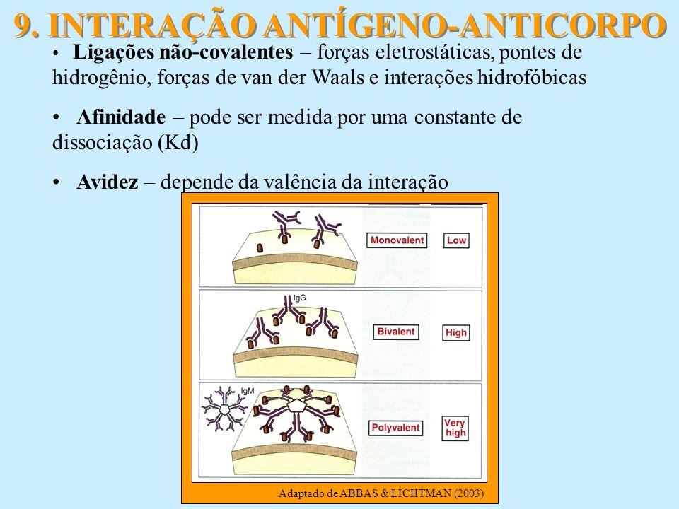 9. INTERAÇÃO ANTÍGENO-ANTICORPO Ligações não-covalentes – forças eletrostáticas, pontes de hidrogênio, forças de van der Waals e interações hidrofóbic
