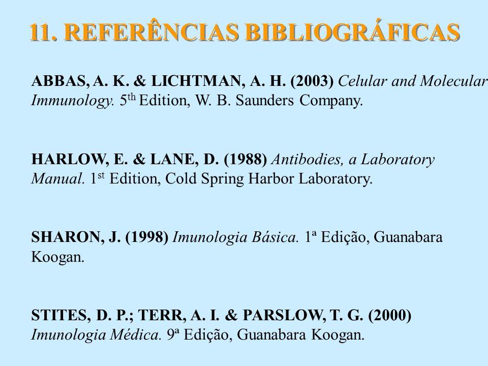 11. REFERÊNCIAS BIBLIOGRÁFICAS ABBAS, A. K. & LICHTMAN, A. H. (2003) Celular and Molecular Immunology. 5 th Edition, W. B. Saunders Company. HARLOW, E