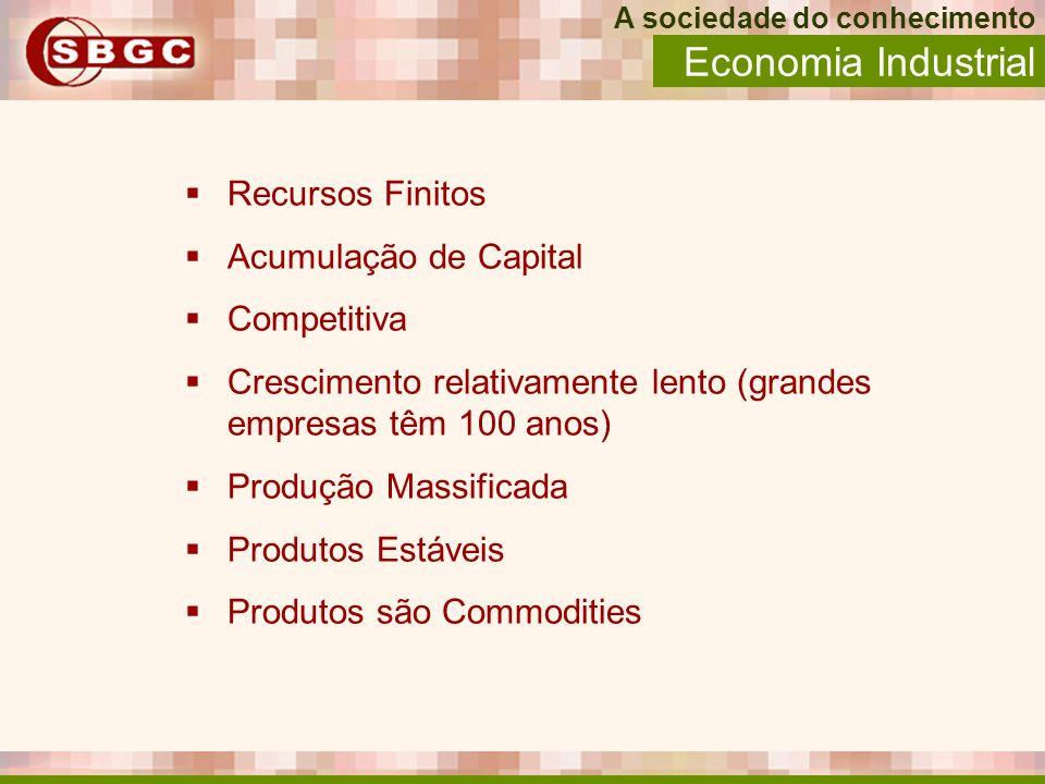 Economia Industrial Recursos Finitos Acumulação de Capital Competitiva Crescimento relativamente lento (grandes empresas têm 100 anos) Produção Massif