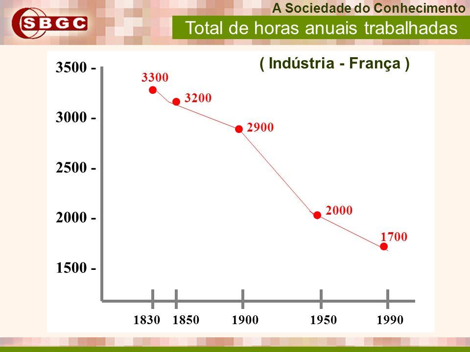 3500 - 3000 - 2500 - 2000 - 1500 - ( Indústria - França ) 18301850190019501990 3300 3200 2900 2000 1700 Total de horas anuais trabalhadas A Sociedade