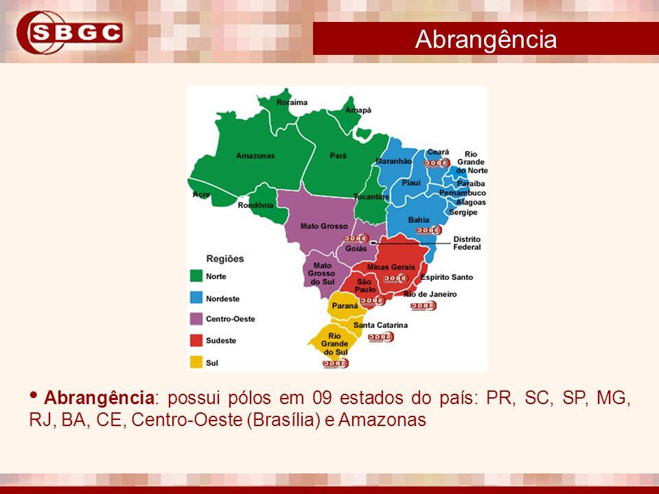 Abrangência Abrangência: possui pólos em 09 estados do país: PR, SC, SP, MG, RJ, BA, CE, Centro-Oeste (Brasília) e Amazonas