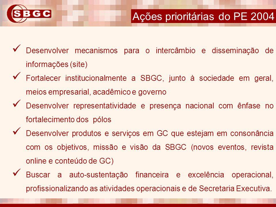 Desenvolver mecanismos para o intercâmbio e disseminação de informações (site) Fortalecer institucionalmente a SBGC, junto à sociedade em geral, meios