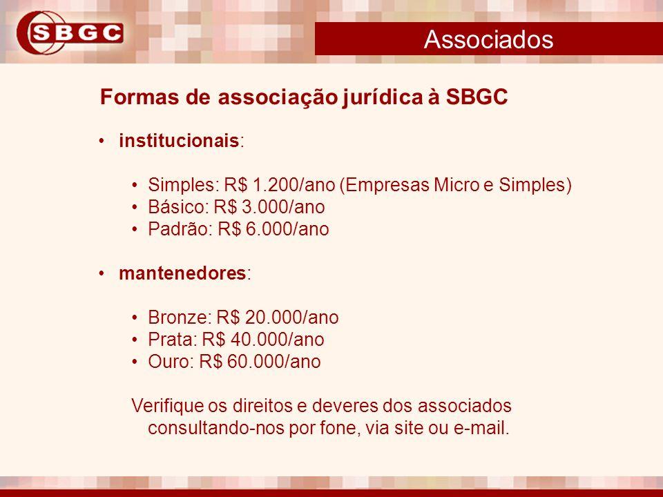 Associados institucionais: Simples: R$ 1.200/ano (Empresas Micro e Simples) Básico: R$ 3.000/ano Padrão: R$ 6.000/ano mantenedores: Bronze: R$ 20.000/
