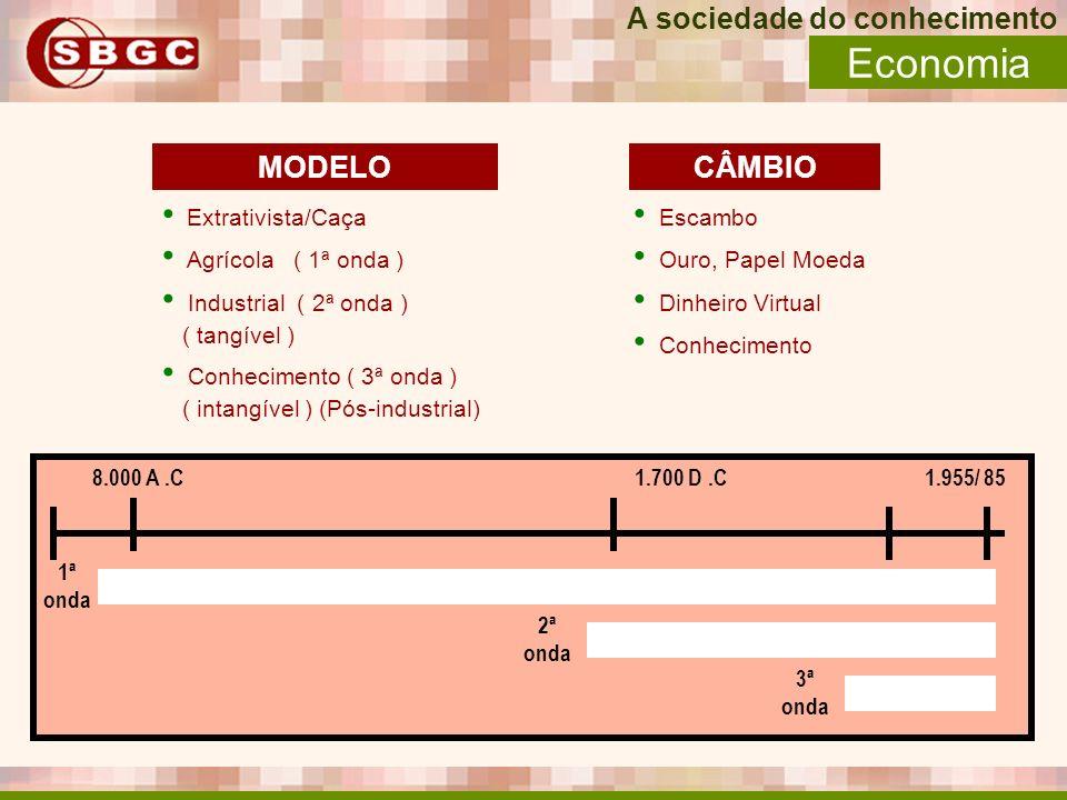 A sociedade do conhecimento Economia Extrativista/Caça Agrícola ( 1ª onda ) Industrial ( 2ª onda ) ( tangível ) Conhecimento ( 3ª onda ) ( intangível
