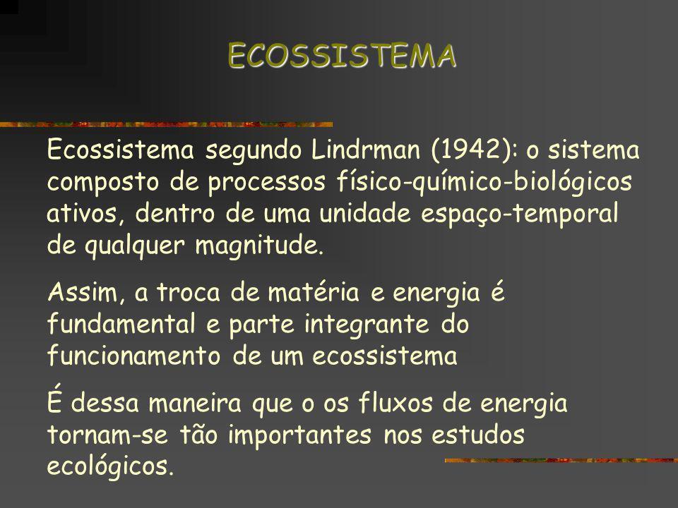 Ecossistema segundo Lindrman (1942): o sistema composto de processos físico-químico-biológicos ativos, dentro de uma unidade espaço-temporal de qualqu