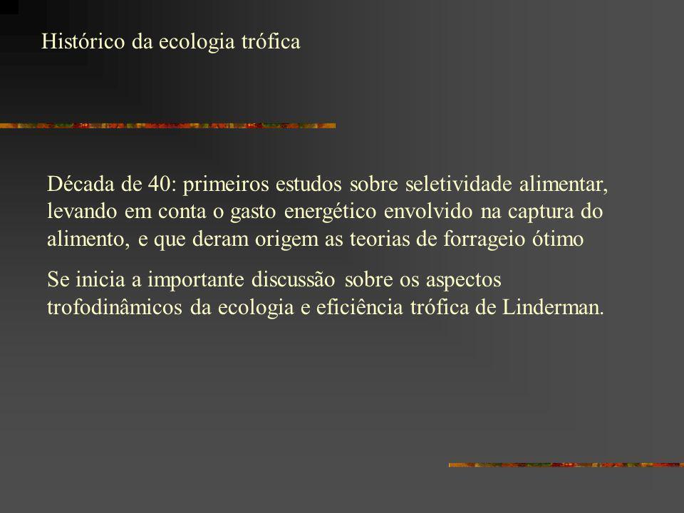 Histórico da ecologia trófica Década de 40: primeiros estudos sobre seletividade alimentar, levando em conta o gasto energético envolvido na captura d