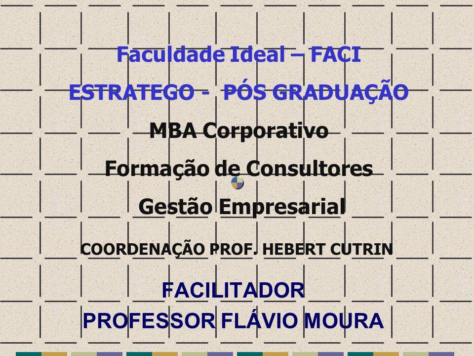 FACILITADOR PROFESSOR FLÁVIO MOURA Faculdade Ideal – FACI ESTRATEGO - PÓS GRADUAÇÃO MBA Corporativo Formação de Consultores Gestão Empresarial COORDEN