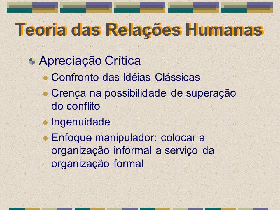 Teoria das Relações Humanas Apreciação Crítica Confronto das Idéias Clássicas Crença na possibilidade de superação do conflito Ingenuidade Enfoque man