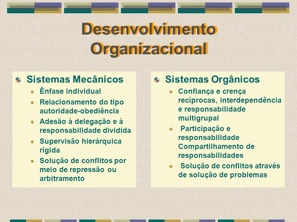 Desenvolvimento Organizacional Sistemas Mecânicos Ênfase individual Relacionamento do tipo autoridade-obediência Adesão à delegação e à responsabilida