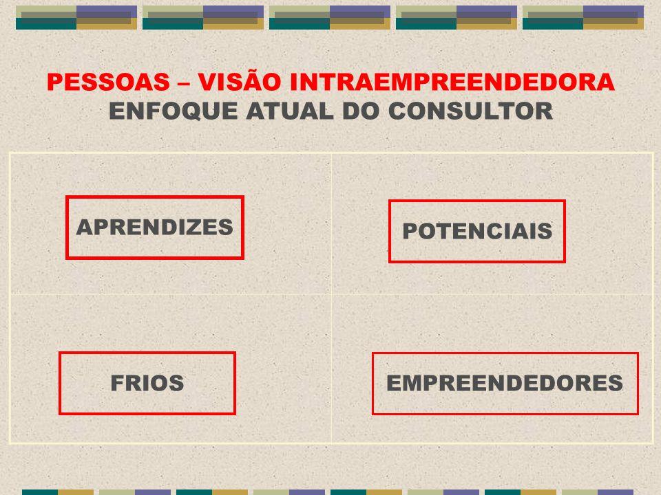 PESSOAS – VISÃO INTRAEMPREENDEDORA ENFOQUE ATUAL DO CONSULTOR APRENDIZES POTENCIAIS FRIOS EMPREENDEDORES