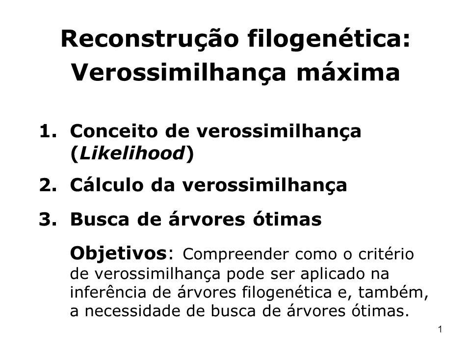 1 Reconstrução filogenética: Verossimilhança máxima 1.Conceito de verossimilhança (Likelihood) 2.Cálculo da verossimilhança 3.Busca de árvores ótimas