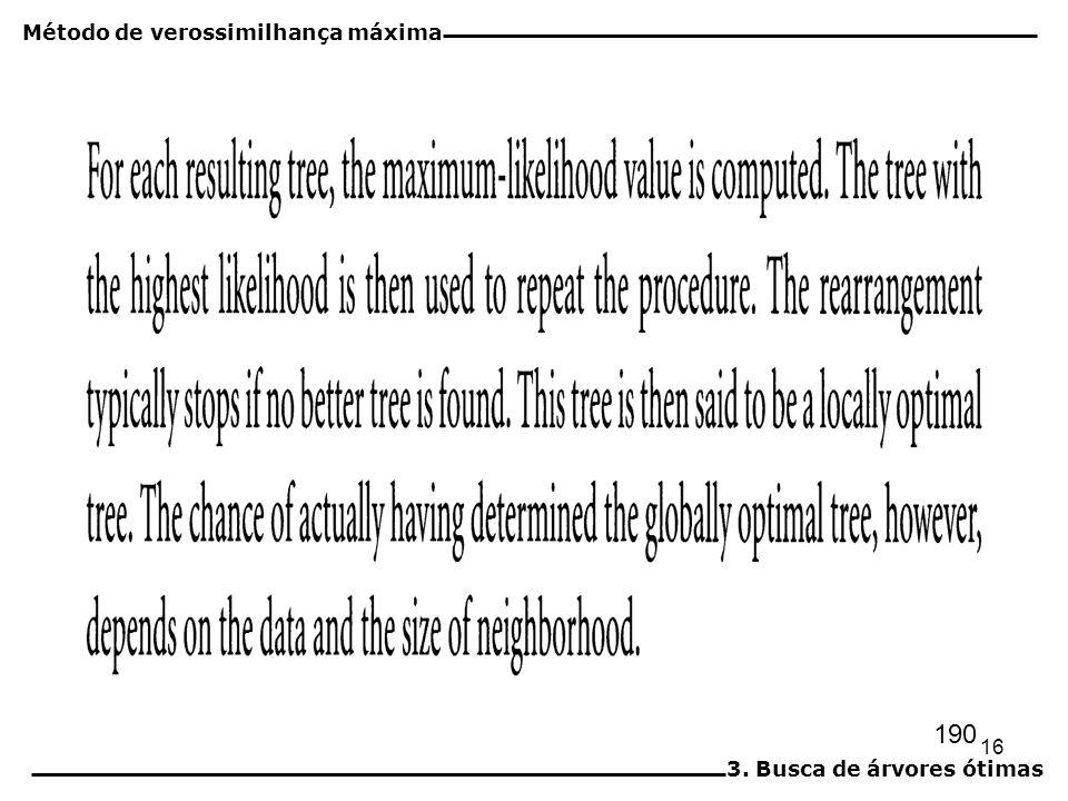 16 190 Método de verossimilhança máxima 3. Busca de árvores ótimas