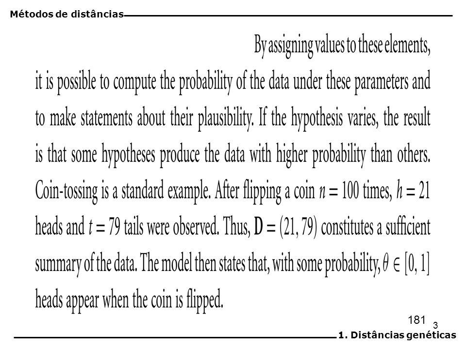 4 Inferência filogenética por verossimilhança máxima Verossimilhança (L) Probabilidade (Amostra | Hipóteses) Sequências alinhadas Árvore Comprimentos dos ramos Modelos de substituição Métodos de distâncias 1.