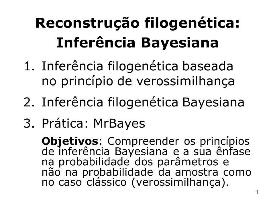 1 Reconstrução filogenética: Inferência Bayesiana 1.Inferência filogenética baseada no princípio de verossimilhança 2.Inferência filogenética Bayesian