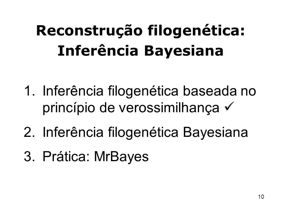 10 Reconstrução filogenética: Inferência Bayesiana 1.Inferência filogenética baseada no princípio de verossimilhança 2.Inferência filogenética Bayesia