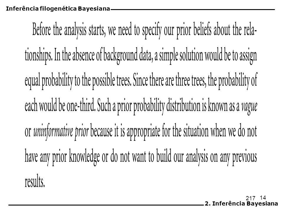 15 Inferência filogenética Bayesiana 2. Inferência Bayesiana