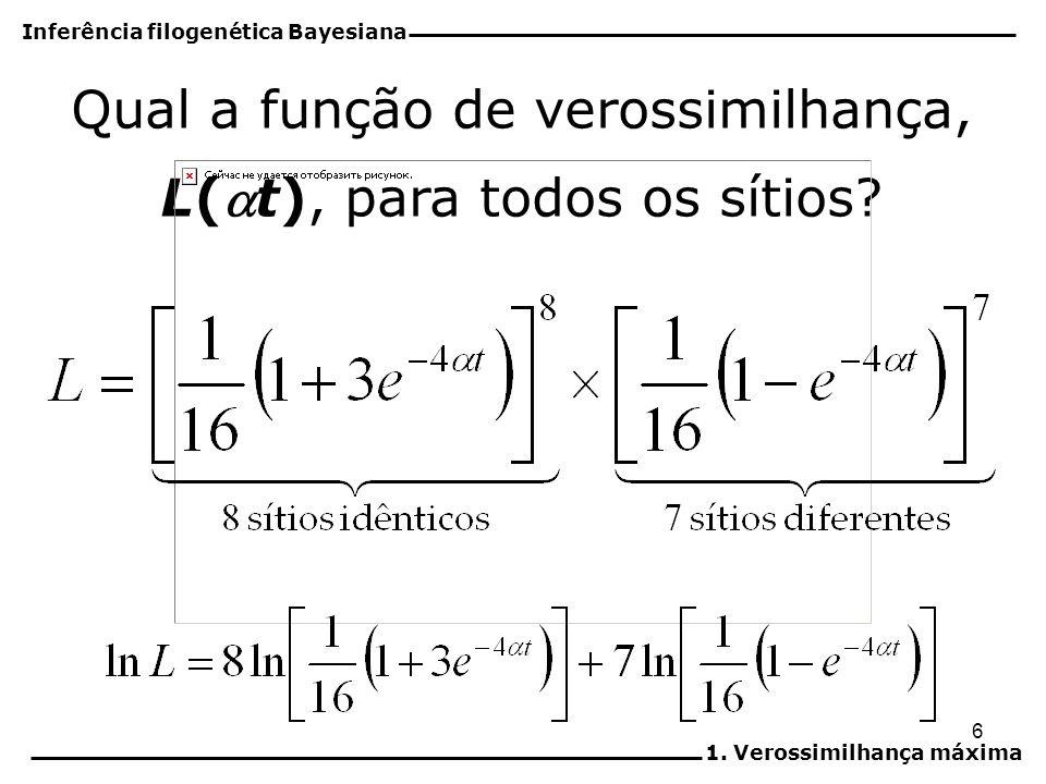 6 Qual a função de verossimilhança, L(t), para todos os sítios? Inferência filogenética Bayesiana 1. Verossimilhança máxima