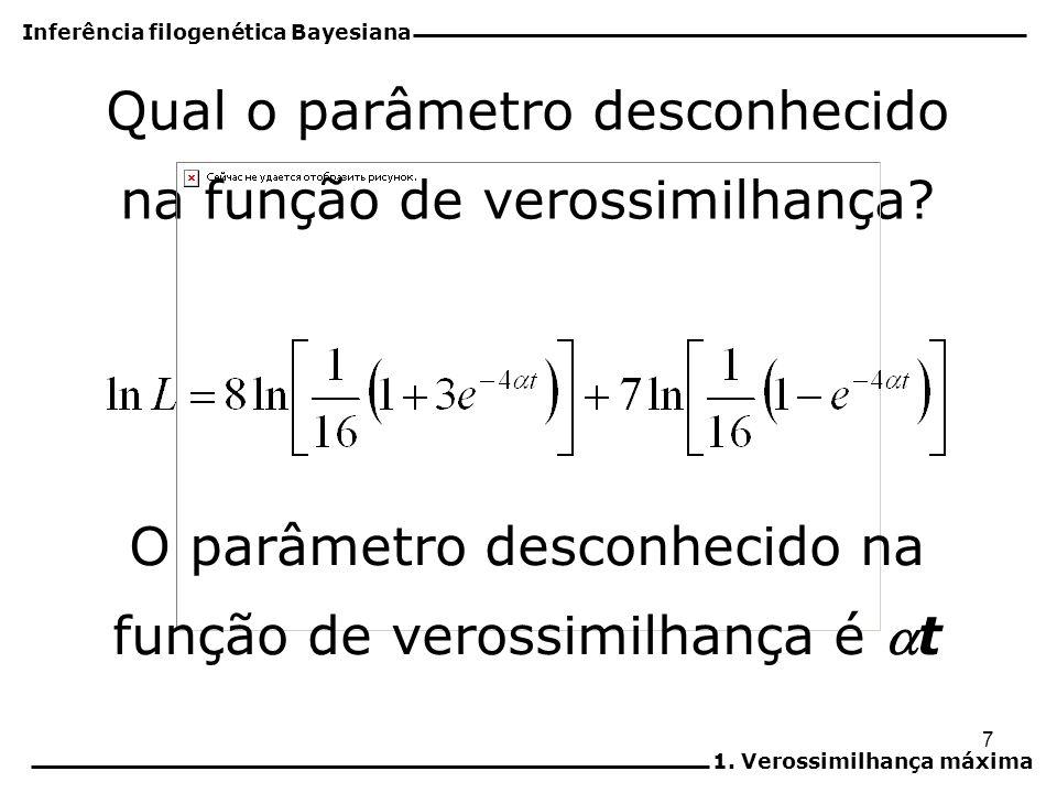 7 Qual o parâmetro desconhecido na função de verossimilhança? O parâmetro desconhecido na função de verossimilhança é t Inferência filogenética Bayesi