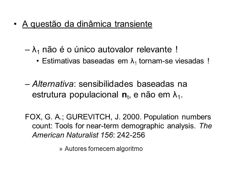 A questão da dinâmica transiente –λ 1 não é o único autovalor relevante ! Estimativas baseadas em λ 1 tornam-se viesadas ! –Alternativa: sensibilidade
