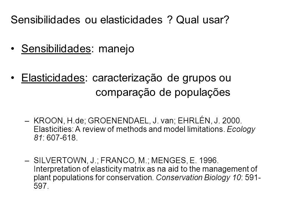 Sensibilidades ou elasticidades ? Qual usar? Sensibilidades: manejo Elasticidades: caracterização de grupos ou comparação de populações –KROON, H.de;