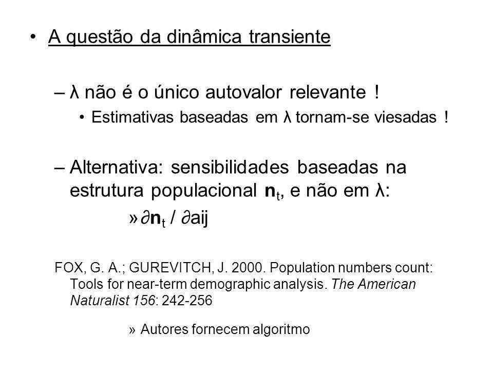 A questão da dinâmica transiente –λ não é o único autovalor relevante ! Estimativas baseadas em λ tornam-se viesadas ! –Alternativa: sensibilidades ba