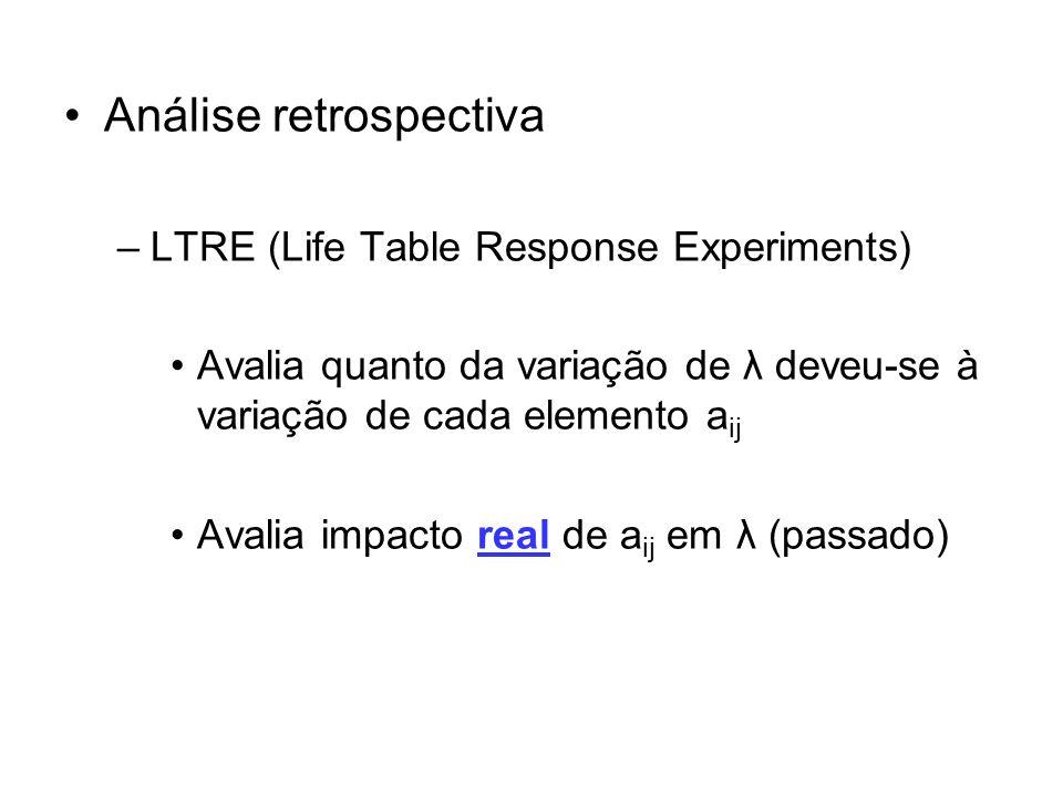 Análise retrospectiva –LTRE (Life Table Response Experiments) Avalia quanto da variação de λ deveu-se à variação de cada elemento a ij Avalia impacto