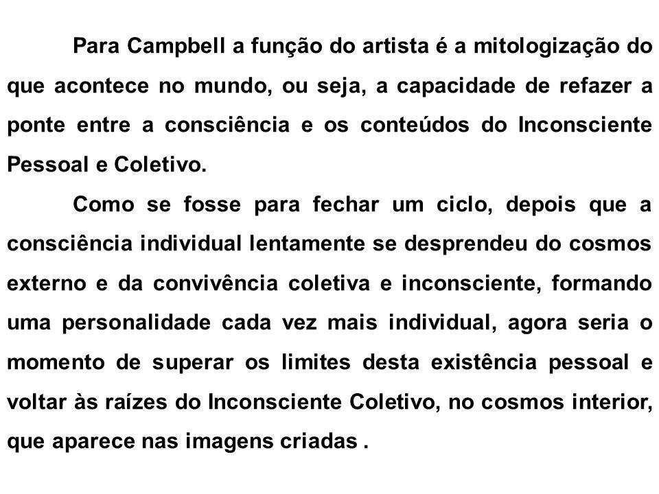 Para Campbell a função do artista é a mitologização do que acontece no mundo, ou seja, a capacidade de refazer a ponte entre a consciência e os conteú