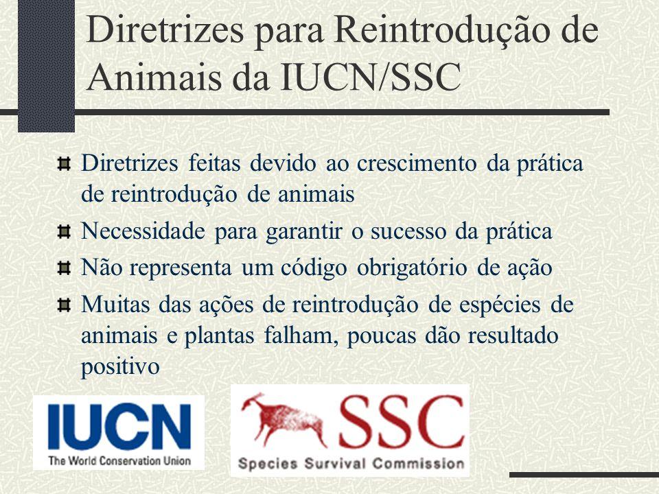 Diretrizes para Reintrodução de Animais da IUCN/SSC Diretrizes feitas devido ao crescimento da prática de reintrodução de animais Necessidade para gar