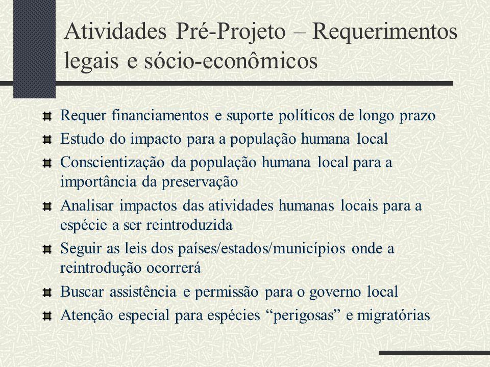 Atividades Pré-Projeto – Requerimentos legais e sócio-econômicos Requer financiamentos e suporte políticos de longo prazo Estudo do impacto para a pop