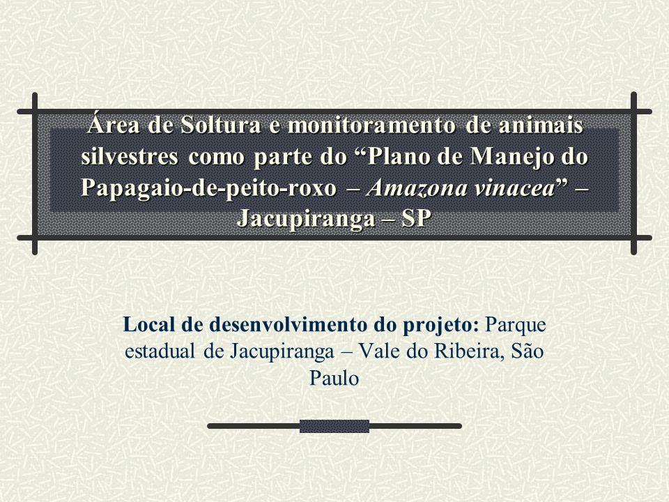 Área de Soltura e monitoramento de animais silvestres como parte do Plano de Manejo do Papagaio-de-peito-roxo – Amazona vinacea – Jacupiranga – SP Loc