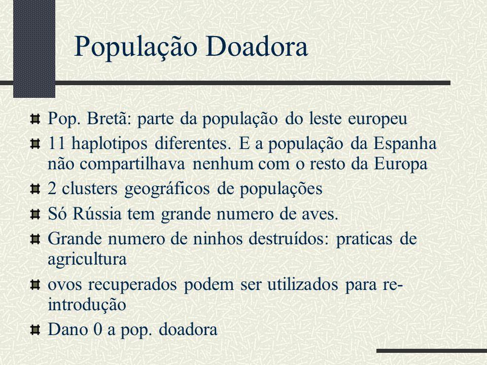 Pop. Bretã: parte da população do leste europeu 11 haplotipos diferentes. E a população da Espanha não compartilhava nenhum com o resto da Europa 2 cl