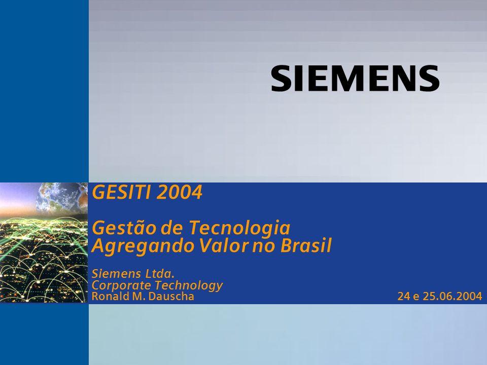 s Corporate Technology GESITI 2004 24/25 de junho Prêmios de Inovação Tecnológica Prêmio FINEP 2002 – 1 o lugar Grande Empresa Região Sudeste Prêmio FINEP 2003 – 3 o lugar Grande Empresa Região Sudeste Prêmio Master de C&T 2003 Inst.