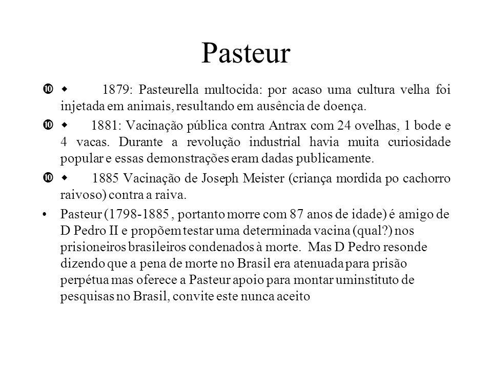 Pasteur 1879: Pasteurella multocida: por acaso uma cultura velha foi injetada em animais, resultando em ausência de doença. 1881: Vacinação pública co