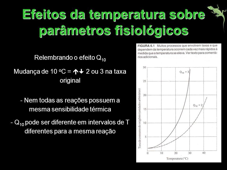 Efeitos da temperatura sobre parâmetros fisiológicos Relembrando o efeito Q 10 Mudança de 10 o C = 2 ou 3 na taxa original - Nem todas as reações poss
