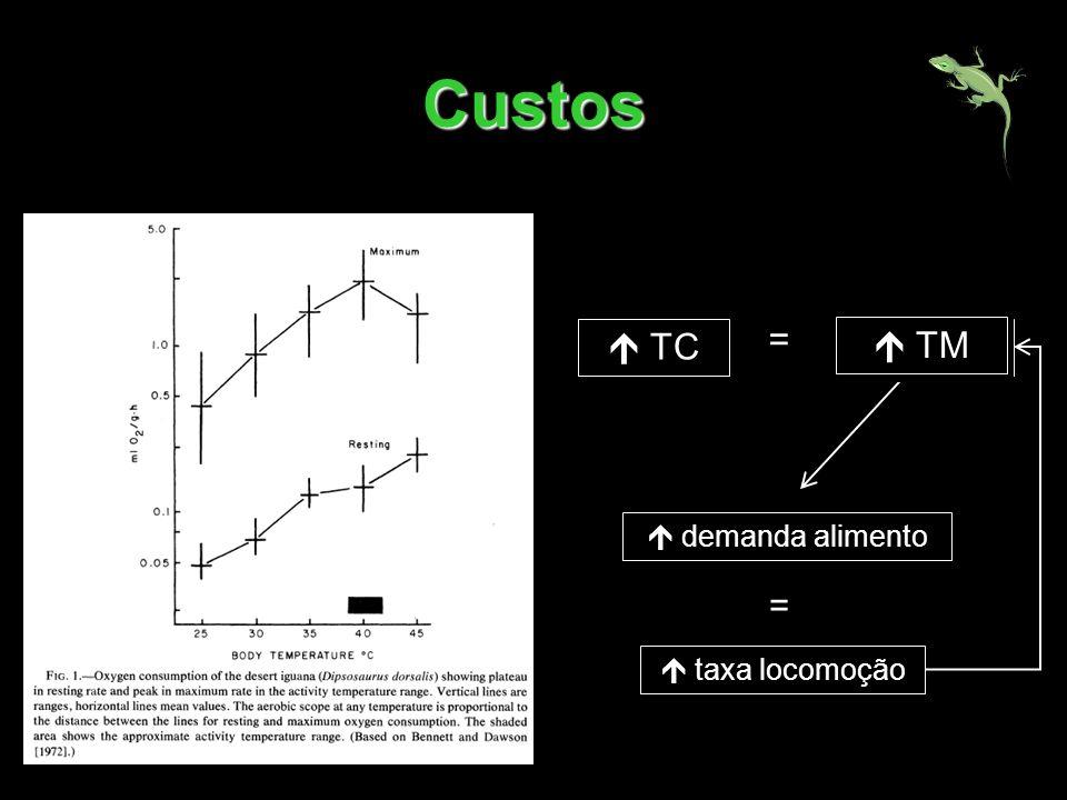Custos demanda alimento = TC TMR = taxa locomoção TM