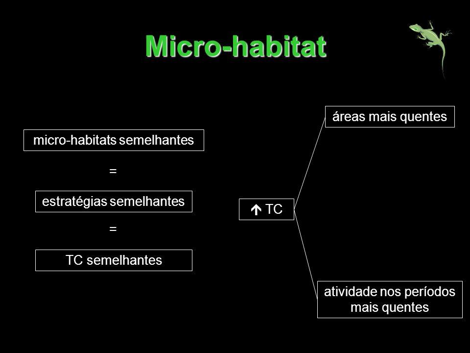 Micro-habitat micro-habitats semelhantes estratégias semelhantes TC semelhantes = = TC áreas mais quentes atividade nos períodos mais quentes