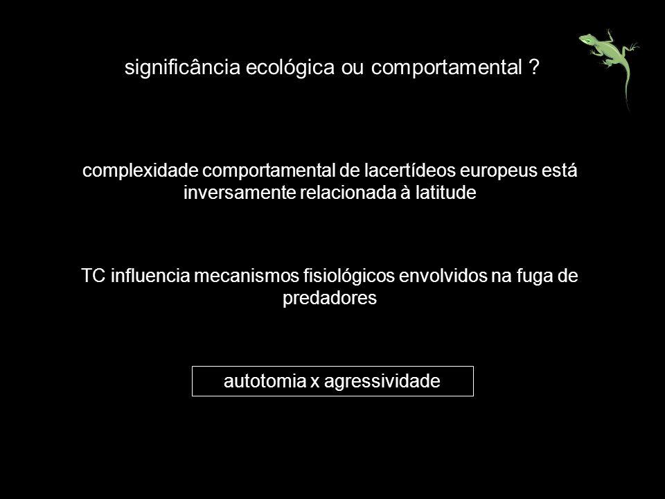 significância ecológica ou comportamental ? complexidade comportamental de lacertídeos europeus está inversamente relacionada à latitude TC influencia