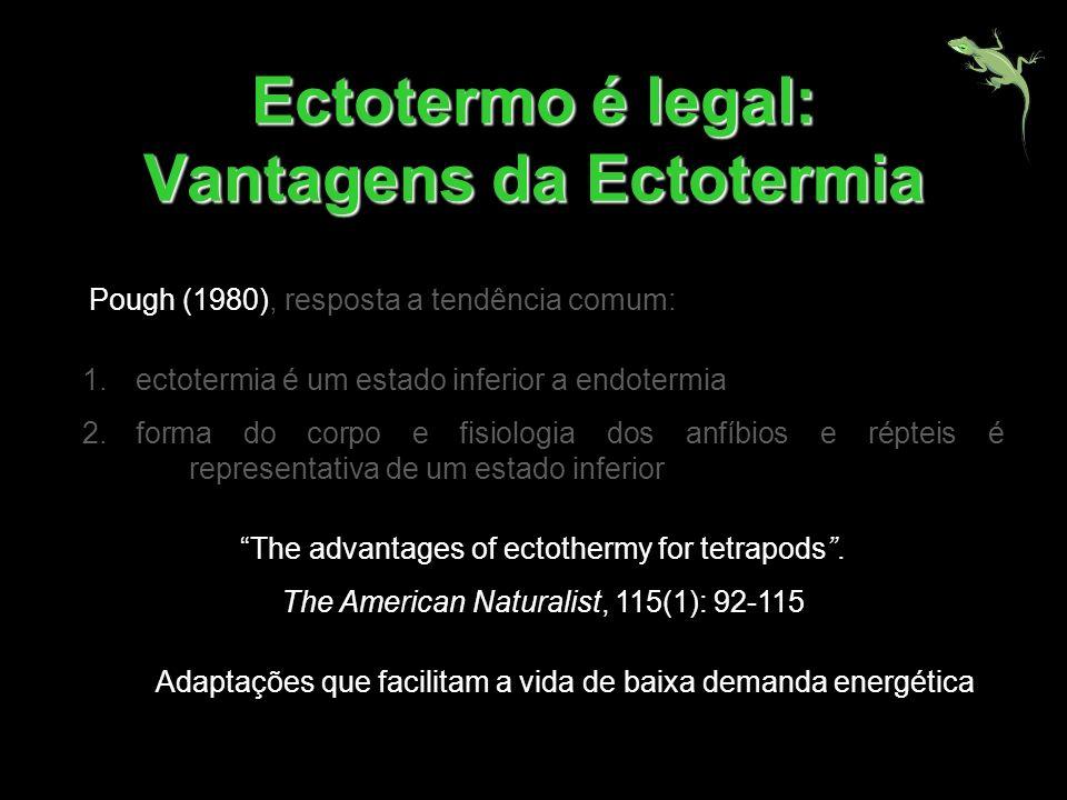 Ectotermo é legal: Vantagens da Ectotermia 1.ectotermia é um estado inferior a endotermia 2.forma do corpo e fisiologia dos anfíbios e répteis é repre