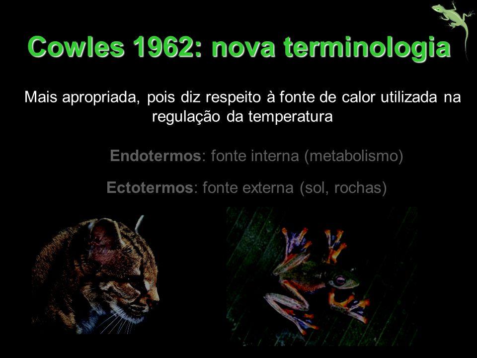 Endotermos: fonte interna (metabolismo) Ectotermos: fonte externa (sol, rochas) Cowles 1962: nova terminologia Mais apropriada, pois diz respeito à fo