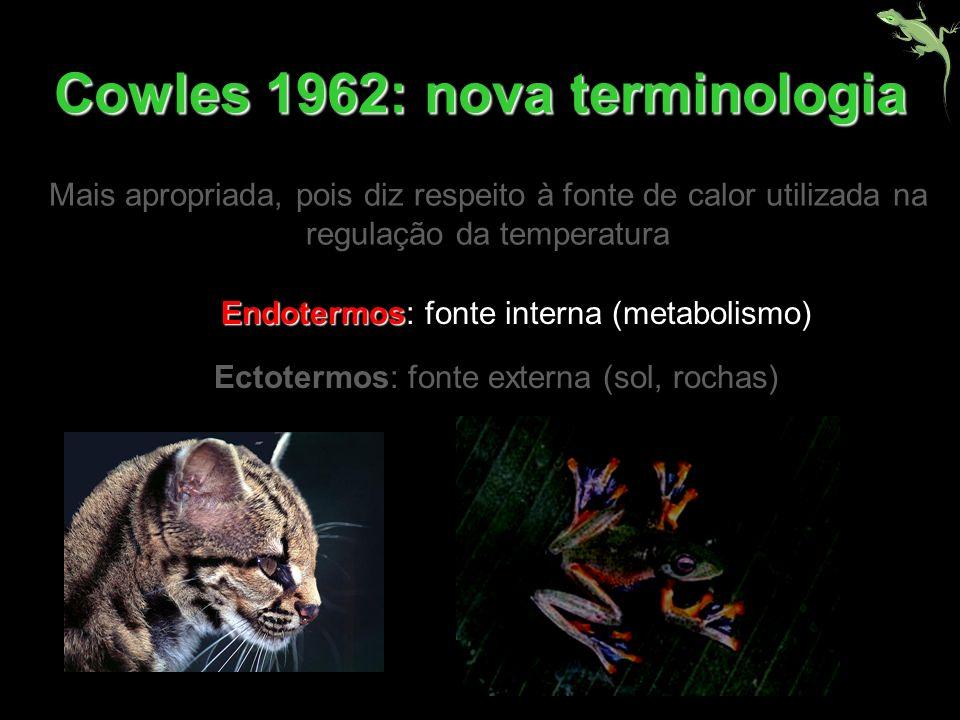 Endotermos Endotermos: fonte interna (metabolismo) Ectotermos: fonte externa (sol, rochas) Cowles 1962: nova terminologia Mais apropriada, pois diz re