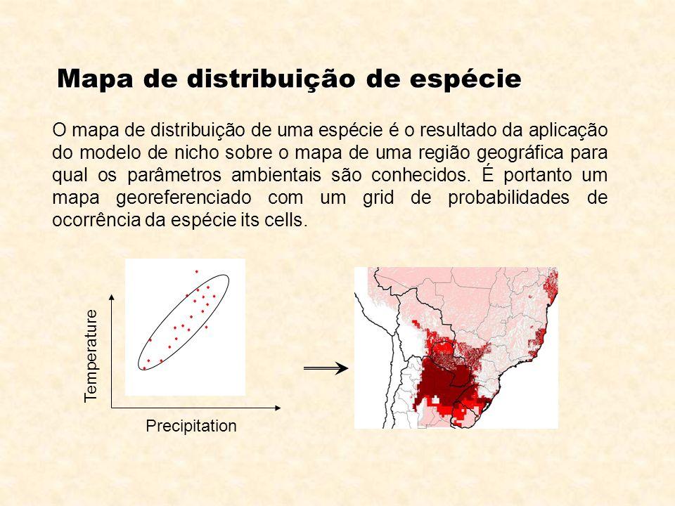 Temperature Precipitation Mapa de distribuição de espécie O mapa de distribuição de uma espécie é o resultado da aplicação do modelo de nicho sobre o