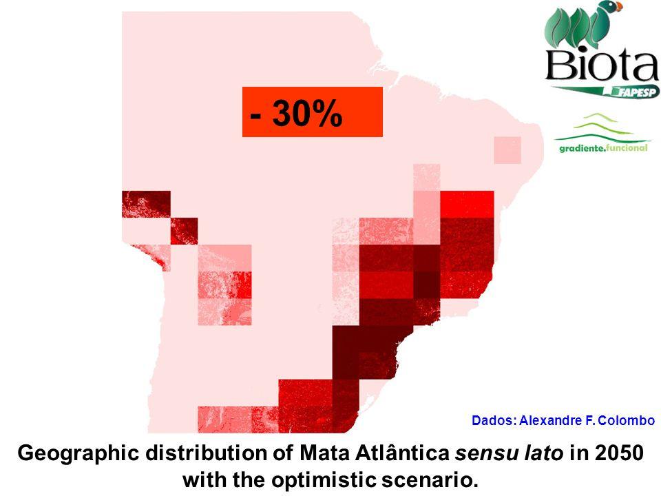2 Geographic distribution of Mata Atlântica sensu lato in 2050 with the optimistic scenario. - 30%