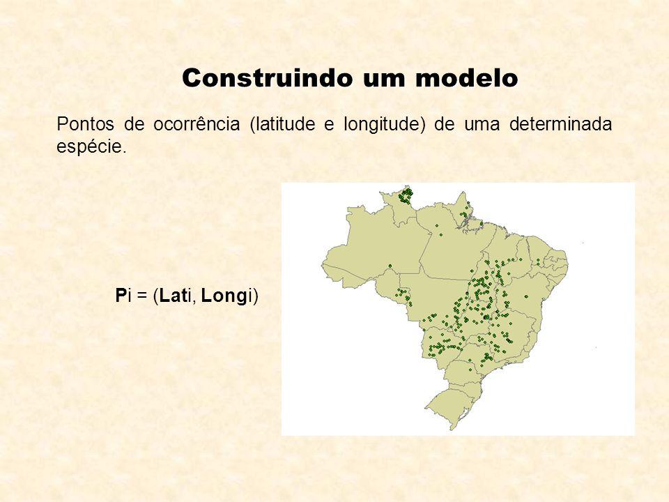 Construindo um modelo Pontos de ocorrência (latitude e longitude) de uma determinada espécie. Pi = (Lati, Longi)